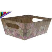 Brother Sister Design Studio, Floral Plank Design Gift Box, Cardboard, 7 9/16 x 9 x 3 1/2 inches
