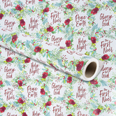 Renewing Faith, Religious Red Floral Gift Wrap Roll, Red, Green and White, 100 Feet, 30 x 480 Inches