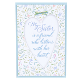Product Concepts, Sister Sentiment Plaque, White, Green, Blue, and Pink, 4 x 6 Inches