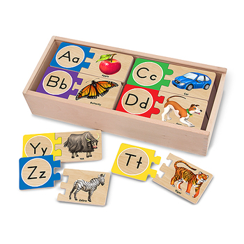 Melissa & Doug, Wooden Self Correcting Alphabet Wooden Puzzle, Ages 4 to 6 Years Old, 40 Pieces