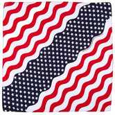 Fashion Bandana, Wavy Stars and Stripes Print, Cotton, 22 x 22 Inches, 1 Piece