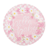 Brother Sister Design Studio, Hello Baby Large Paper Plates, Pink Floral, 10 1/2 Inches, Pack of 10