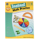 Teacher Created Resources, Instant Math Practice Workbook, Reproducible Paperback, 144 Pages, Grade 5