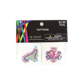 Brother Sister Design Studio, Gems and Glitter Temporary Tattoos, 2 x 2 Inches, Pack of 12