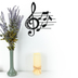 Treble Clef with Notes Wall Art, Metal, Black, 12 3/8 x 11 1/4 x 1/2 inches