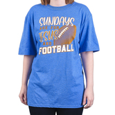 Rooted Soul, Sundays Are For Jesus And Football, Women's Short Sleeve T-Shirt, Blue Heather, S-2XL
