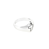 Dicksons, Dome with Engraved Cross, Women's Ring, Silver Plated, Sizes 6-9