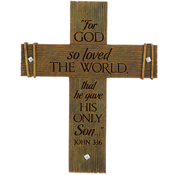 LCP Gifts, John 3:16 For God So Loved Standing Cross, Cast Stone, 6 1/8 x 4 7/8 inches