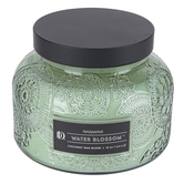 Darsee & David's, Water Blossom Embossed Jar Candle, Green, 18 Ounces