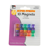 Charles Leonard, Super Strong Push Pin Magnets, Assorted Colors, 10 Pieces
