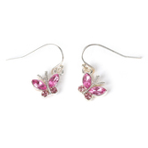 Howard's, Ear Sense, Butterfly Dangle Earrings, Pink and Silver, 1/2 Inches