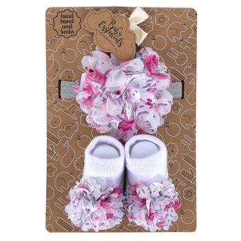A.D. Sutton & Sons, Flower & Tutu Socks & Headband Set, Pink & White, 0 to 6 Months