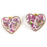 Faith in Bloom, Floral Heart Post Earrings, Brass and Resin, Gold, Pink and Purple