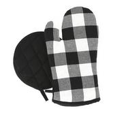 Buffalo Check Oven Mitt & Pot Holder, Cotton, Black & White, 8 x 9 1/4 & 13 1/2 x 7 inches, 2 Pieces