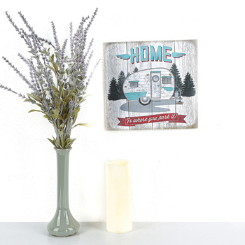 Home Is Where You Park It Wall Decor, MDF, Turquoise and Red and White, 10 1/2 x 10 x 3/8 inches