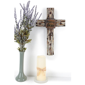 Amazing Grace Distressed Wood Western Wall Cross Decor, Resin, 15 3/8 x 9 1/4 x 1 1/2 inches