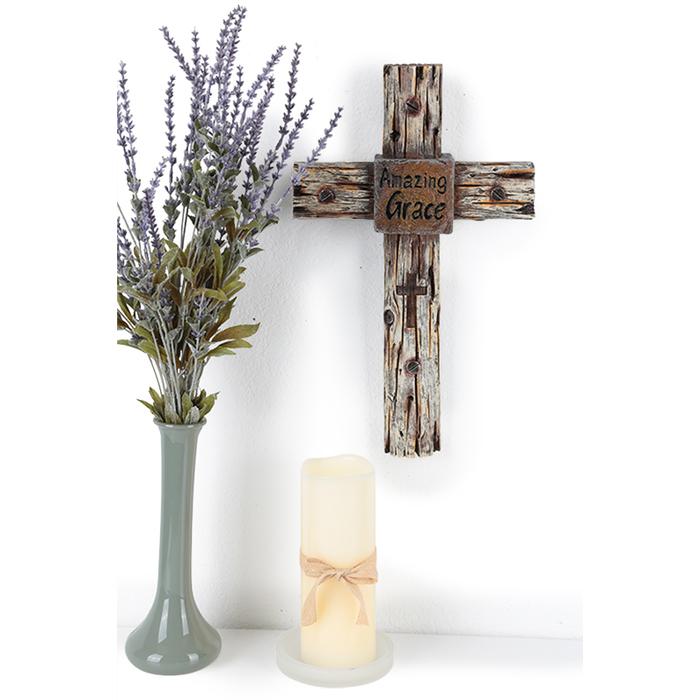 Faith Resin Word Distressed Black Carved Wood Look