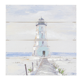 White Lighthouse Wall Decor, Wood, 15 1/2 x 15 1/2 Inches