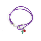 Faith Spark, Cross and Heart Cord Loop Bracelet, Zinc Alloy and Polyester and Iron, Purple, 7 Inches