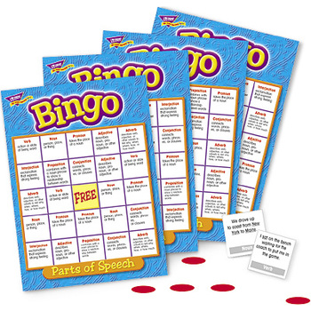 Trend, Parts of Speech Bingo Game, Ages 9 Years and Older, 3 to 36 Players