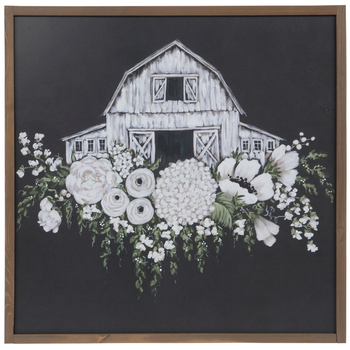 Designs Direct Creative Group, Barn with Flowers Framed Art, MDF, Black & White, 24 x 24 inches