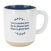 Christian Art Gifts, Love Joy Grace Coffee Mug, Ceramic, White and Blue, 12 ounces
