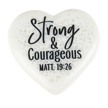 LCP Gifts, Matthew 19:26 Strong & Courageous Heart, Cast Stone, White, 2 1/4 inches