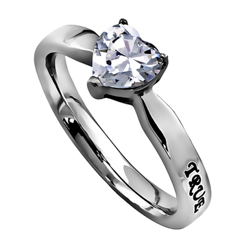 Spirit & Truth, True Love Waits, Heart Solitaire Purity Ring, Stainless Steel