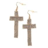 Faithful and Fabulous, Bling Cross Dangle Earrings, Brass and Glass, Gold