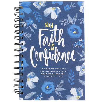 SoulScripts, Hebrews 11:1 Faith is Confidence Journal, Spiral-Bound Hardcover, Navy Floral, 8 x 5 1/4   inches, 160 pages