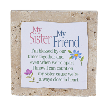 Product Concepts, My Sister My Friend Tile Plaque, Natural, 4 x 4 Inches