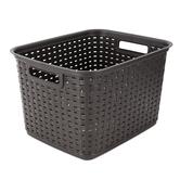 Sterilite, Tall Weave Basket Storage Container, Plastic, Espresso, 15 x 12 1/4 x 9 3/8 Inches, 1 Piece