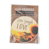 Carson Home Accents, Live Laugh Love Car Coaster, Absorbent Stoneware, 2 3/4 inches