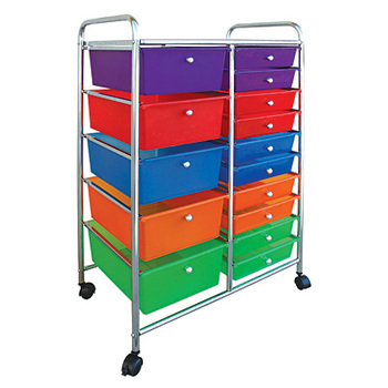 Renewing Minds, 15 Drawer Mobile Organizing Tower, Rolling Cart, Multi-Colored, 37 x 16 x 12 Inches