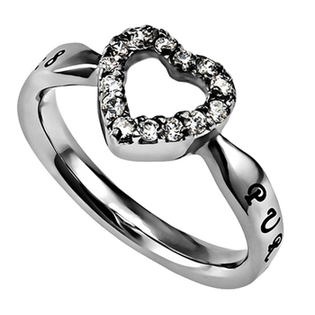 Spirit & Truth, Open CZ Heart, Purity Ring, Stainless Steel