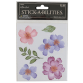 the Paper Studio, Watercolor Blossoms and Leaves Stickers, 12 Stickers