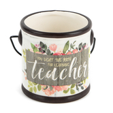 Blossom Bucket, You Light The Path For Learning Teacher Mini Crock, Ceramic, 3 1/4 x 3 inches