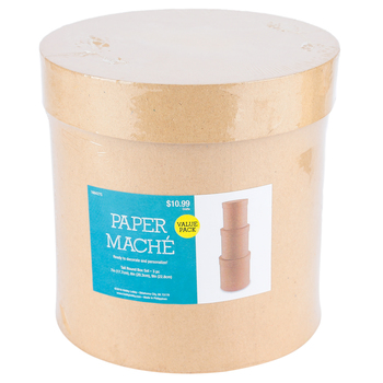 Paper Mache Tall Round Box, Set of 3 with Removable Lids, Large 7, 8, and 9 x 8-Inches