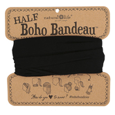 Natural Life, Solid Color Half Boho Bandeau, Polyester & Spandex, Black, 9 x 10 inches