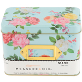 Petals & Blooms Recipe Box, Tin, Blue/Multi, 4 3/4 x 6 1/2 Inches