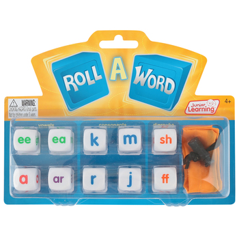 Junior Learning, Roll-A-Word Game, 12 Pieces, Multi-Colored, 1 or More Players, Grades PreK-4
