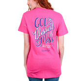 Cherished Girl, Ephesians 2:8 God Blessed This Mess, Women's Short Sleeved T-Shirt, Bright Pink, S-3XL