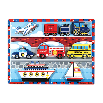 Melissa & Doug, Chunky Vehicles Wooden Puzzle, Ages 2 to 4 Years Old, 9 Pieces