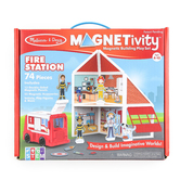 Melissa & Doug, Magnetivity Fire Station Magnetic Building Play Set, 62 Pieces, Ages 4 to 10
