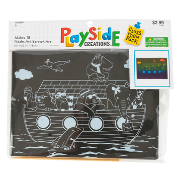 Playside Creations, Noah's Ark Scratch Art Kit, 5 x 7 Inches, Classroom Pack, 18 Count, Ages 5 and up