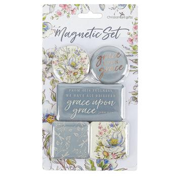 Christian Art Gifts, John 1:16 Grace Upon Grace Magnet Set, 5 Magnets
