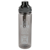 Christian Art Gifts, Jeremiah 29:11 The Plans Water Bottle, Plastic, Black and Gray, 28 ounces