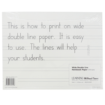 Handwriting Without Tears, Wide Notebook Paper, 100 Loose Leaf Sheets, Grades K-1