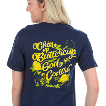 Cherished Girl, Psalm 46:1 Chin Up Buttercup, Short Sleeve T-Shirt, Navy, 2X-Large