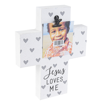 Green Tree Gallery, Jesus Loves Me Cross Wood Clip Photo Frame, White, Grey, and Black, 7 x 8 Inches